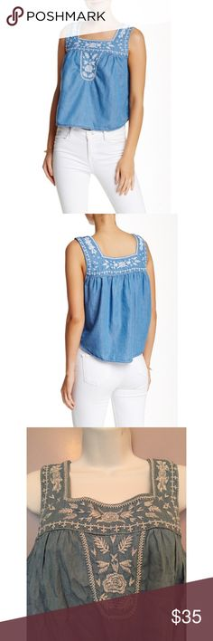 """{Romeo & Juliet Couture} Chambray Embroidered Tank Square neck Sleeveless. Embroidered detail. Curved hem. Approx. 21"""" length. Imported. Fiber Content: 100% Lyocell. Romeo & Juliet Couture Tops"""