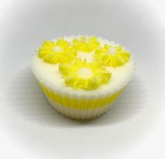 White Cupcake Soap with Yellow Daisies