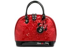 Mickey and Minnie Mouse - Red/Black Patent Leather Embossed Handbag