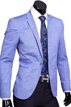 Модный мужской пиджак под джинсы голубого цвета купить