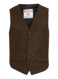 Harris Tweed Brown Waistcoat - Waistcoats - Suits