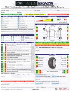 MultiPoint Inspection Report Card As Recommended By Ford Motor