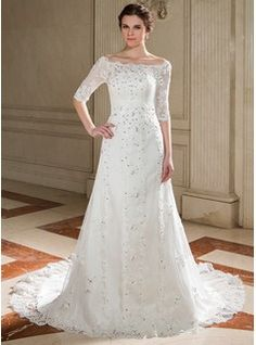 Wedding Dresses - $254.99 - A-Line/Princess Off-the-Shoulder Court Train Tulle Wedding Dress With Lace Beading Sequins  http://www.dressfirst.com/A-Line-Princess-Off-The-Shoulder-Court-Train-Tulle-Wedding-Dress-With-Lace-Beading-Sequins-002011446-g11446