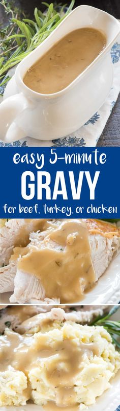 This Easy All Purpose Gravy recipe is perfect for turkey, chicken, or beef. Use this method to make the most flavorful gravy ever! ~ Crazy for Crust Thanksgiving Recipes, Holiday Recipes, Great Recipes, Favorite Recipes, Thanksgiving 2017, Christmas Recipes, Thanksgiving Gravy, Thanksgiving Sides, Holiday Meals