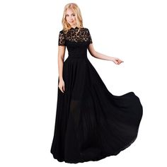 Women Lace Chiffon Long Maxi Dresses Evening Party Cocktail Plus Size Black ** Unbelievable  item right here! : formal dresses