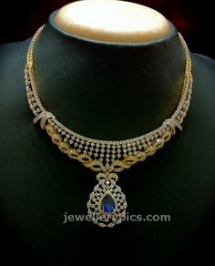 Diamond set with blue suphire at Nalli jewellers - Latest Jewellery Designs