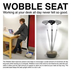 """DIY """"Wobble Seat,"""" to use with standing desk!!  Uses an old crutch, cement/mold, and bicycle seat!!"""
