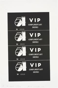 ANDY WARHOL | Studio 54 Complimentary Drink Invitation, 1978 | screenprint on paper Sold for $152,500 at the Contemporary Art Day Sale, 16 November 2012, New York.