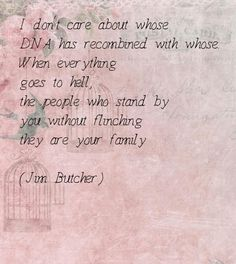 I don't care about whose DNA has recombined with whose. When everything goes to hell, the people who stand by you without flinching—they are your family. - Jim Butcher