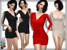 The Sims Resource: Wool Blend Lace-Up Arm Dress by DarkNighTt • Sims 4 Downloads
