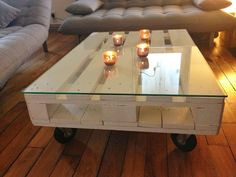 table basse en palette de bois fini