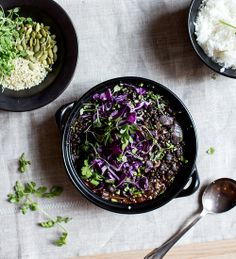 beluga lentil + black bean chili with purple cabbage