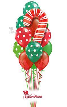 Candy Cane Dots Balloon Bouquet 14 Balloons
