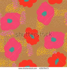 Abstract seamless vector texture with multicolored flowers - stock vector