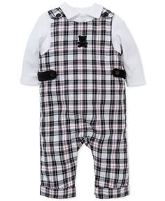 Little Me 2-Pc. Shirt & Plaid Overall Set, Baby Boys (0-24 months)