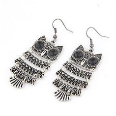 Maturnity Antique Silver Owl Shape Design Alloy Korean Earrings