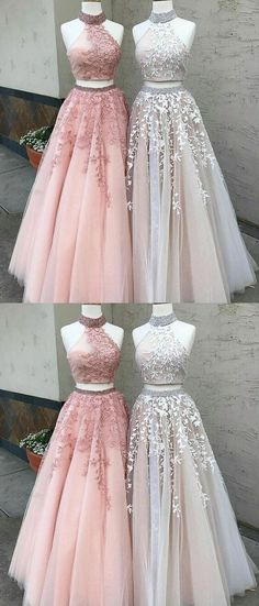 elegant 2 pieces prom party dresses with appliques, pink fashion halter formal evening gowns ,light grey ball gowns. Prom Dresses Two Piece, Prom Dresses 2018, Grad Dresses, Prom Party Dresses, Quinceanera Dresses, Formal Dresses, Dress Prom, Two Piece Gown, Occasion Dresses