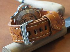 Handmade leather watch strap and buckle tan от BCLeatherWorks