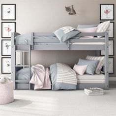 Bunk Bed for Kids Ideas - One of the main reasons why you want to have some bunk bed for kids ideas is because you want to make the room more spacious. Bunk beds are the perfect solution for your kids' bedroom who only has limited space. Bunk Beds For Girls Room, Bunk Bed Rooms, Twin Bunk Beds, Kid Beds, Girls Bedroom, Bedroom Decor, Bunk Bed Decor, Short Bunk Beds, Bunkbeds For Small Room