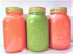 Avocado Mason Jars Glitter Make Up Brush by MaidenLongIsland