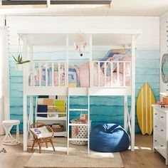 Bunk beds are great for siblings and sleepovers. Shop Pottery Barn Kids' bunk beds and loft beds for kids with functional and sturdy styles. Treehouse Loft Bed, Playhouse Loft Bed, Loft Bunk Beds, Bunk Beds With Stairs, Kids Bunk Beds, House Bunk Bed, Teen Girl Bedrooms, Big Girl Rooms, Cocoppa Wallpaper