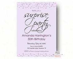 Purple Glitter Surprise Party Invitation Printable by PegsPrints