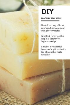 Goat Milk Soap Recipe – Very Easy and Forgiving DIY Goats Milk Soap Recipe. Using ingredients found at your local grocery store try you hand at making homemade goats milk soap with this easy for forgiving recipe. Soap Making Recipes, Homemade Soap Recipes, Homemade Products, Homemade Gifts, Diy Gifts, Goat Milk Recipes, Savon Soap, Lye Soap, Castile Soap
