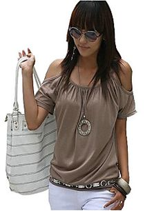 Women's Off Shoulder Strap Flutter T-shirt