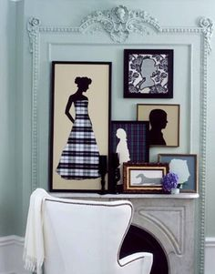 Collection of Silouettes in Frames.  In living room with family silhouettes