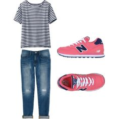 A fashion look from April 2015 featuring stripe shirt, blue jeans and flat shoes. Browse and shop related looks. Uniqlo, Rebecca Minkoff, Polyvore Fashion, Shoe Bag, Sneakers, Stuff To Buy, Shopping, Collection, Shoes