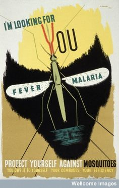 vintage malaria posters | L0023767 The malaria mosquito forming the eye-sockets of a skull, rep