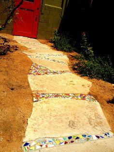Mosaic between stepping stones.