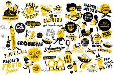 El Cartucho - Raúl Gómez Estudio Graffiti Wall, Wall Murals, Cafeteria Design, Food Collage, Arts Bakery, Doodle Wall, Food Doodles, Store Layout, Cafe Art