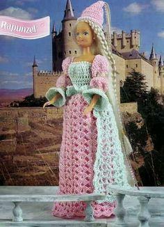 Crochet, Barbie, Rapunzel pattern http://knits4kids.com/collection-en/library/album-view?aid=28434