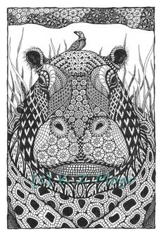 """Hippo - 8""""x10"""" open edition matted print 