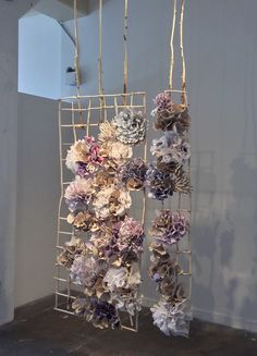 Swinging Bloom Fired and unfired porcelain paper clay, handmade paper, organic material x x Clay Clay, Paper Clay, Craft Museum, Clay Center, San Francisco Museums, My Little Girl, Wreath Ideas, Ladder Decor, Contemporary Art