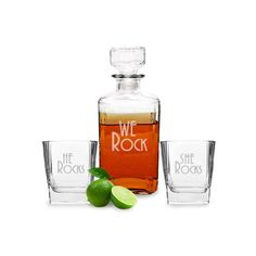 """We Rock"" decanter set to display at engagement party or wedding reception. The decanter is engraved with ""We Rock"" and the rocks glasses can be customized for He/She, She/She and He/He. #TheManRegistry http://www.themanregistry.com/gifts/we-rock-decanter-rocks-glass-set.html"