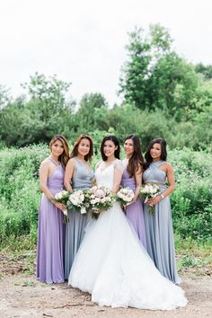 Lily and David by Cari Zhu - Bridesmaids in @henkaa Dove Grey and Dusty Purple Sakura Convertible Dresses