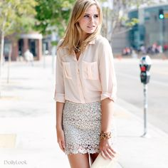 Blush Sheer Button Up Blouse + Cream Lace Scalloped Mini Skirt + Nude Strappy Chunky Heels