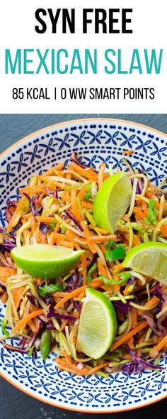 This Syn Free Mexican Slaw joins the other slaw's that we've made, like our Syn free Asian Slaw and Syn free Coleslaw. It's full of speed food, which makes it perfect to enjoy on both the Slimming World Extra Easy plan and SP plan. Vegan Slimming World, Slimming Eats, Slimming World Recipes, Slimming Word, Healthy Eating Recipes, Mexican Food Recipes, Vegetarian Recipes, Healthy Food, Healthy Chicken Recipes