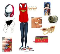 """Wonder Woman outfit"" by happynini ❤ liked on Polyvore featuring Noir, Converse, J Brand, Mariella Pilato and Beats by Dr. Dre"