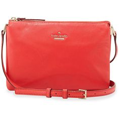 kate spade new york ivy place gabriella crossbody bag ($248) ❤ liked on Polyvore featuring bags, handbags, shoulder bags, geranium, red purse, kate spade purses, red shoulder bag, hand bags and shoulder handbags