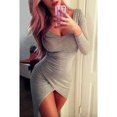 $10.06 Sexy Plunging Neck Long Sleeve Asymmetrical Bodycon Dress For Women