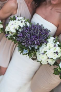 Love the idea of bride's bouquet being all lavender and bridesmaids with white and lavender