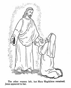 easter bible coloring page jesus appears to mary magdalene - Bible Coloring Pages Easter Story