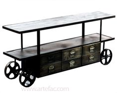 Industrial Furniture :: Industrial Media Stand on Wheels w/Storage on Special DJ-4683 - ARTeFAC USA