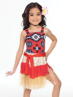 Revolution - Costumes - Character - Revolution Dancewear - US Flower Hair Clips, Flowers In Hair, Dance Costumes Kids, Moana Costumes, Revolution Costumes, How Far Ill Go, Hula Skirt, Disney Music, Dance Recital