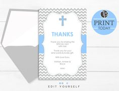 Blue Baptism THANK YOU CARD, Instant Download, Baptism Thank you Card, Chevron Baptism Thank you, Christening Thank you, Baptism, Editable by TweetPartyPrintables on Etsy Baptism Thank You Cards, Christening Invitations, Kind Words, Special Day, Chevron, Thankful, Unique Jewelry, Handmade Gifts, Blue