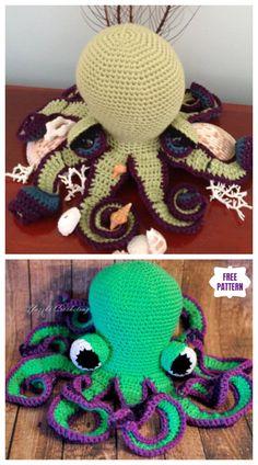 Crochet Dolls Design Crochet Octavia the Octopus Amigurumi Free Pattern - Crochet Octavia the Octopus Amigurumi Free Pattern Octopus Crochet Pattern Free, Crochet Fish, Crochet Octopus, Crochet Mermaid, Crochet Amigurumi Free Patterns, Crochet Animal Patterns, Cute Crochet, Crochet Crafts, Crochet Dolls