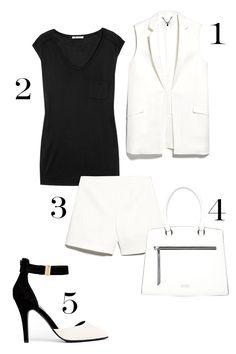 1. Mango Linen-Blend Pocket Vest, $99; mango.com. 2. T by Alexander Wang Muscle Jersey T-Shirt, $80; net-a-porter.com. 3. Mango High-Waist Shorts, $44.99; mango.com. 4. Faith Zip Front Boxy Tote, $81; asos.com. 5. New Look Snap Black & White Two Part Heels, $31; asos.com.   - MarieClaire.com